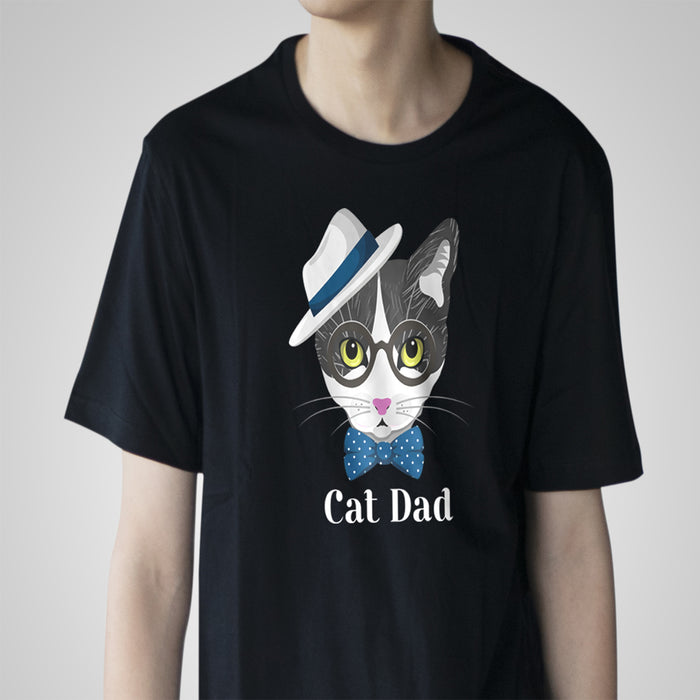 Stylish Cat Dad Tee - White Lettering