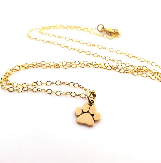 Dainty Cat Paw Print Pendant Necklace - Sterling Silver Charm Gold Plated