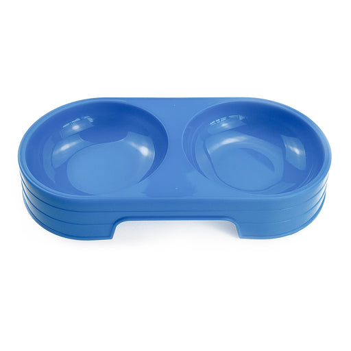 Dual Bowl Pet Water and Feeder - Plastic Bowl Accessory for Pets-HappyFriendy