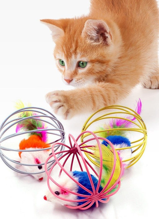 Mouse in a Cage Interactive Ball Kitty Toy - Feather Plush Toy for Cats