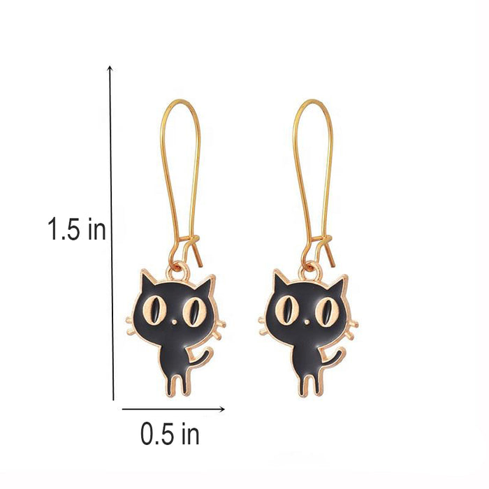 Bright-Eyed Black Kitty Drop Earrings - Fashionable Zinc Alloy Hoops-HappyFriendy
