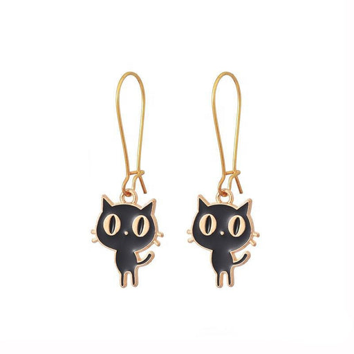 Bright-Eyed Black Kitty Drop Earrings - Fashionable Zinc Alloy Hoops