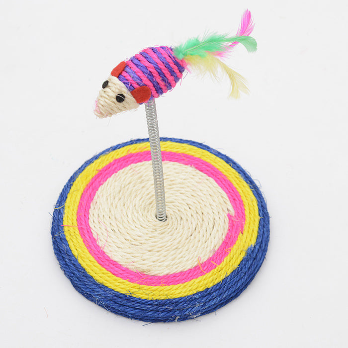 Interactive Sisal Spring Mouse Feather Cat Scratcher Toy