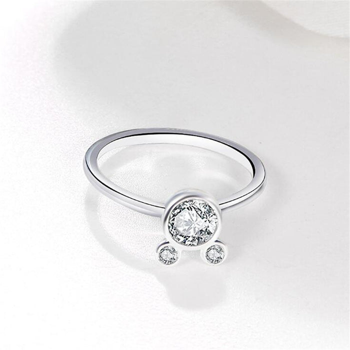 Zircon Cat Silver Ring - Romantic Cat Wedding Band-HappyFriendy