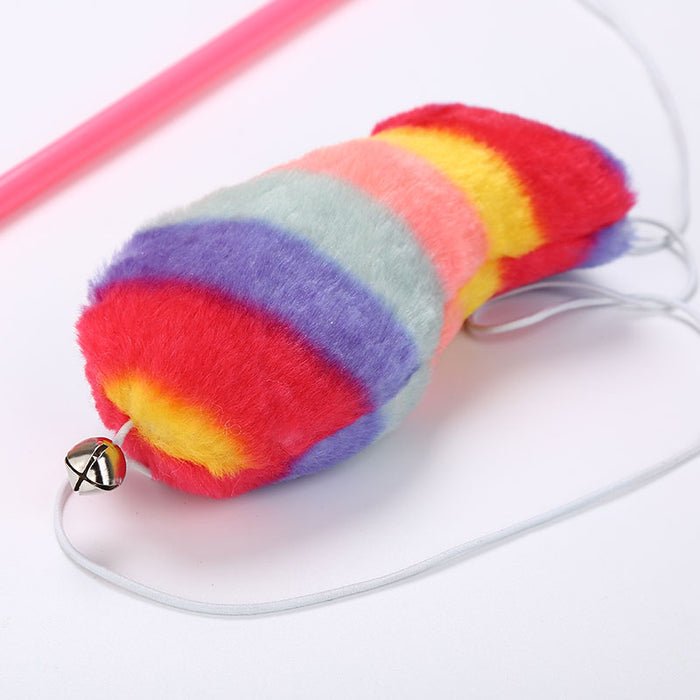 Rainbow Plush Fish Wand Cat Toy - Interactive Teaser Wand Toy for Cats-HappyFriendy