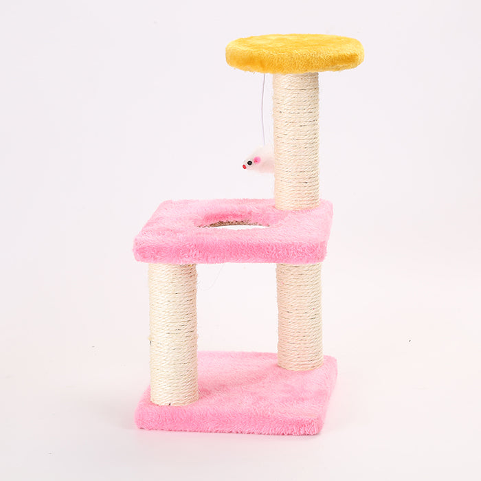Sisal Interactive Multi-Level Scratching Tree Cat Toy - Mouse Stress-Relief Cat Scratcher Toy-HappyFriendy