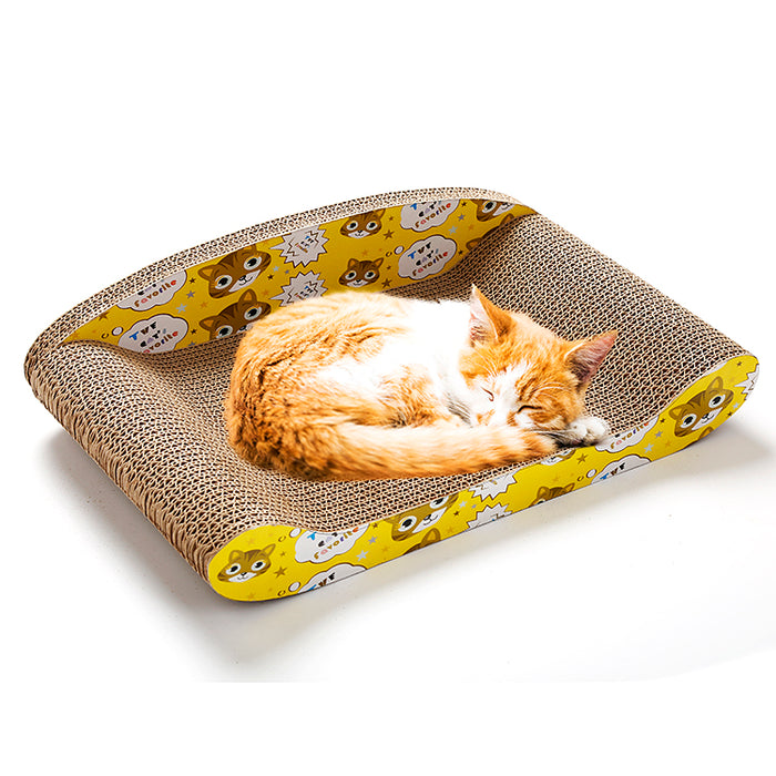 Cardboard Sofa Cat Scratcher Lounge - Cat Scratching Lounge for Anxiety and Stress Relief-HappyFriendy