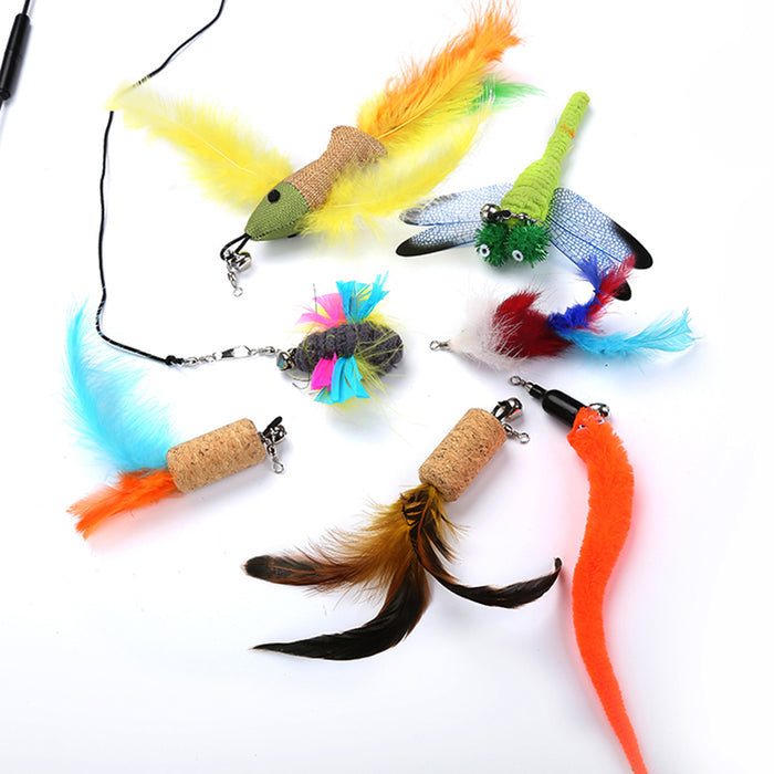 Replaceable Set Cat Teaser Feather and Bell Toy