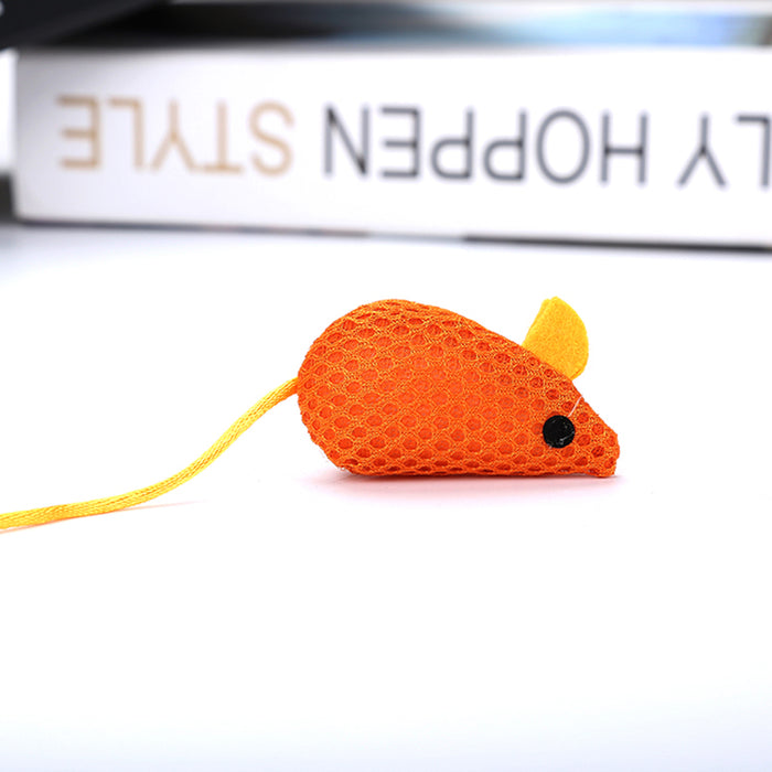 Orange Mouse Cat Chew Toy - Soft Lightweight Net Cloth Pet Toy for Cats-HappyFriendy