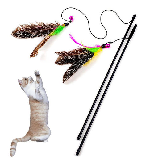 Feather String Wand Interactive Cat Toy with Bell - Durable Pet Wand for Cats