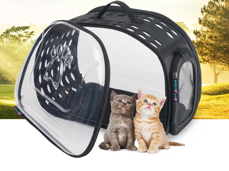 Foldable Clear Window Cat Carrier - Car Travel Carrier Accessory for Cats-HappyFriendy