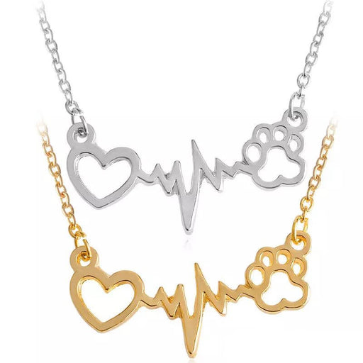 Heart Beats for Cats Stylish Pendant Necklace - Zinc Alloy Silver or Gold Gift
