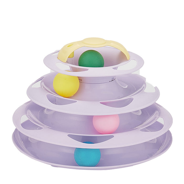 Interactive 4-layer Cat Tower Track Ball Toy-HappyFriendy