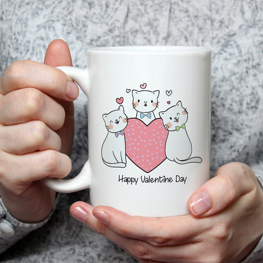 Kitties in Ties Valentine Mug - Black Lettering