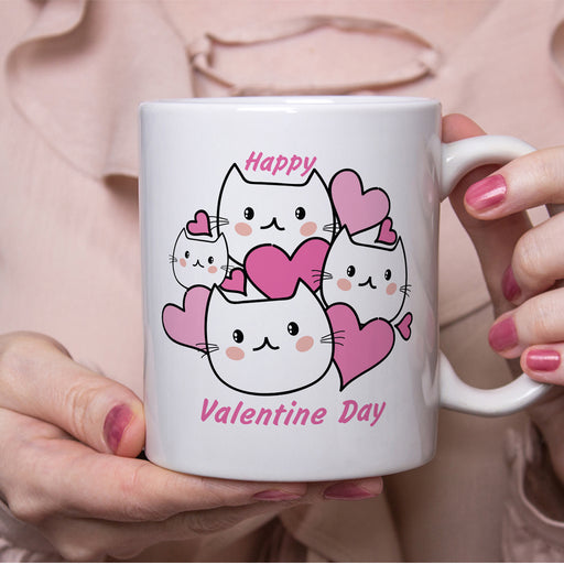 Hearts and Kitties Valentine Mug