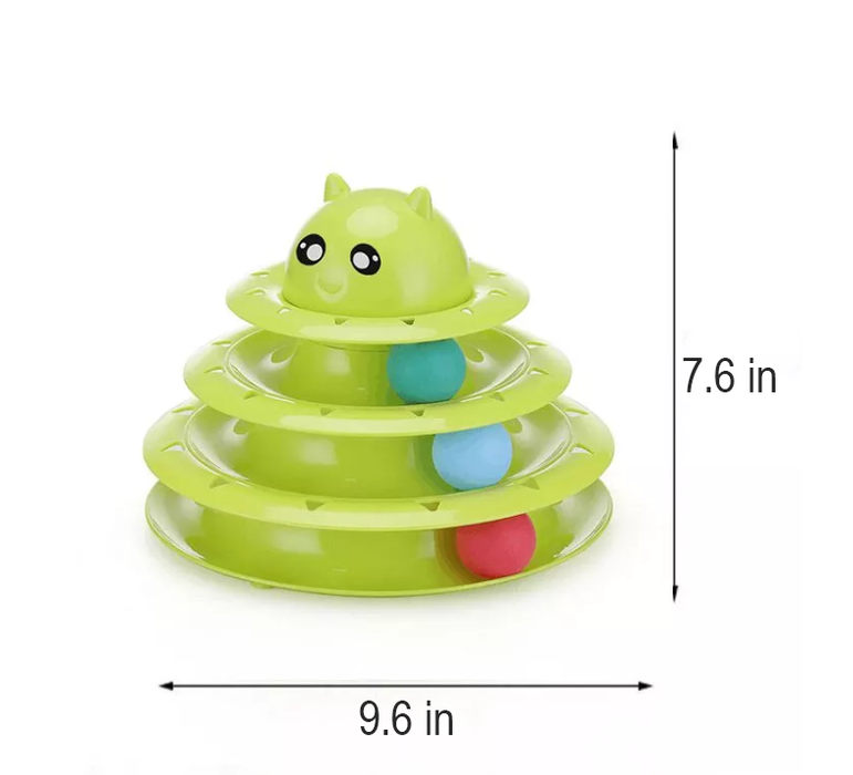 Multi-level Kitty Tower Ball Track Cat Toy - Interactive Ball Toy for Cats