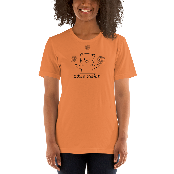 Cats and Crochet Juggling Tee - Black Lettering