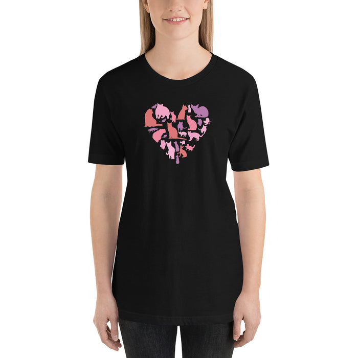 Pink Heart Full of Cats Tee-HappyFriendy