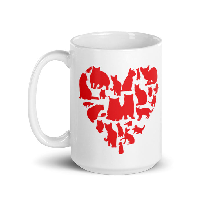 Red Heart Full of Cats Mug-HappyFriendy