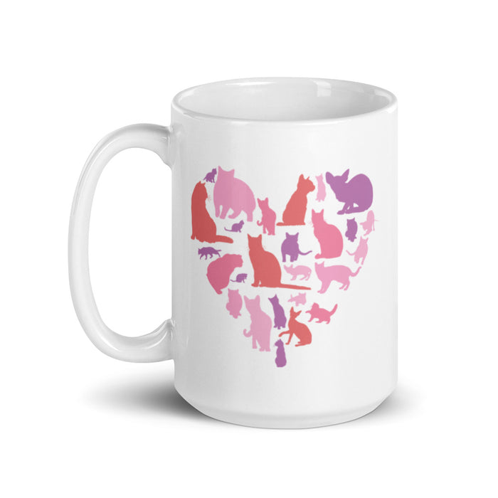Pink Heart Full of Cats Mug-HappyFriendy