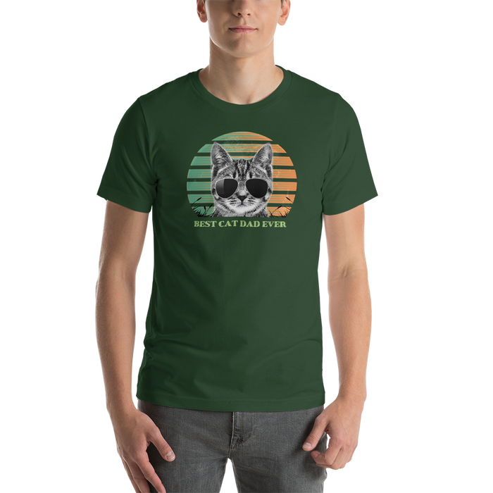 Best Cat Dad Ever Tee - Green and Orange Sunset-HappyFriendy