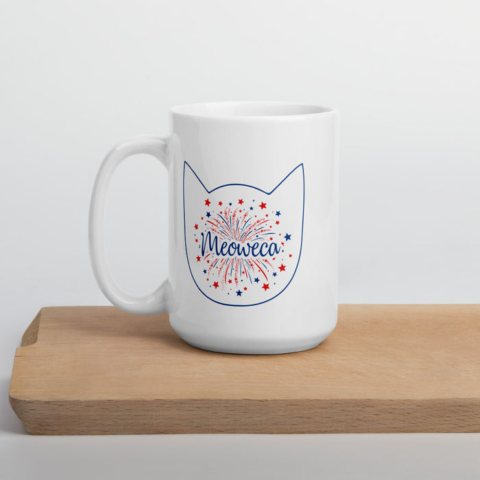 Meowaca Blue Outline Cat Mug-HappyFriendy