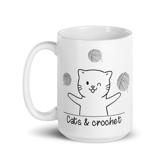 Cats and Crochet Juggling Mug - Black Lettering