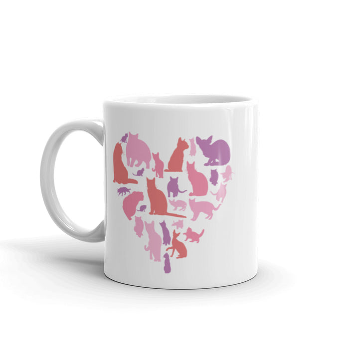 Pink Heart Full of Cats Mug