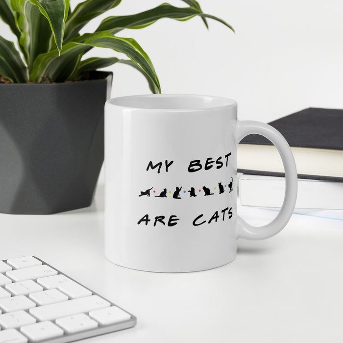 My Best Friends Are Cats Mug - Black Lettering-HappyFriendy