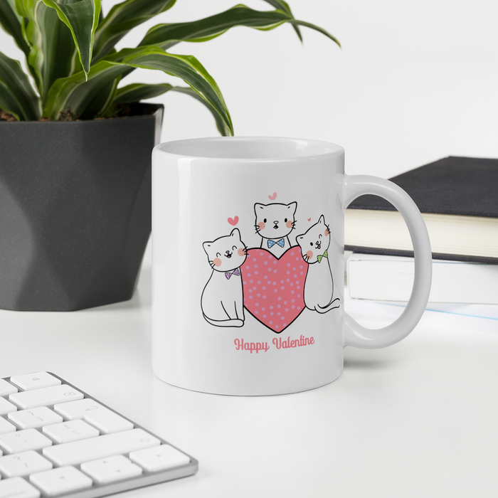 Kitties in Ties Valentine Mug - Pink Lettering-HappyFriendy
