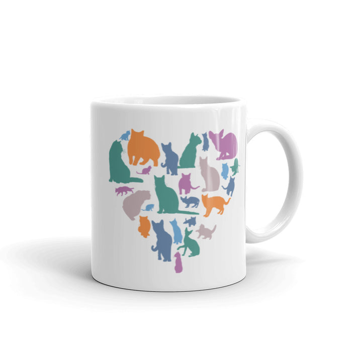 Heart Full of Multicolor Cats Mug