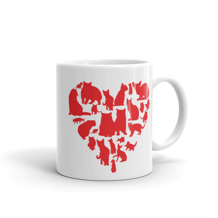 Red Heart Full of Cats Mug