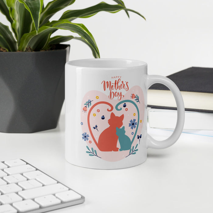 Mother's Day Cat Defined Heart Mug-HappyFriendy
