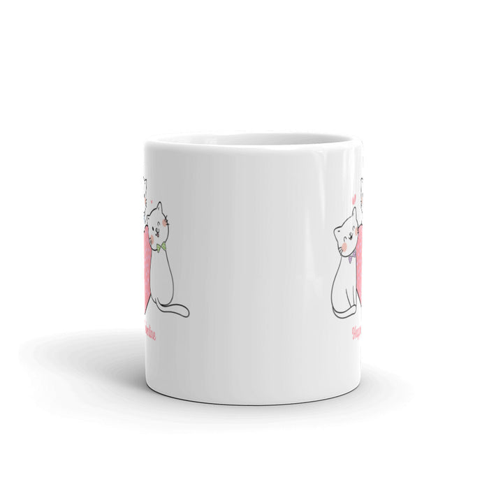 Kitties in Ties Valentine Mug - Pink Lettering