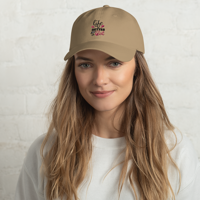 Life is Better with a Cat Hat - Black Lettering-HappyFriendy