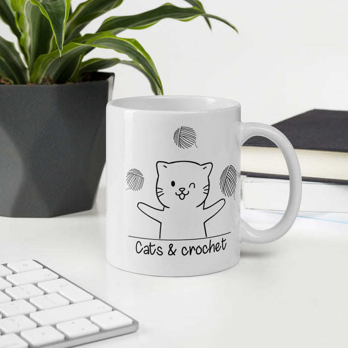 Cats and Crochet Juggling Mug - Black Lettering-HappyFriendy