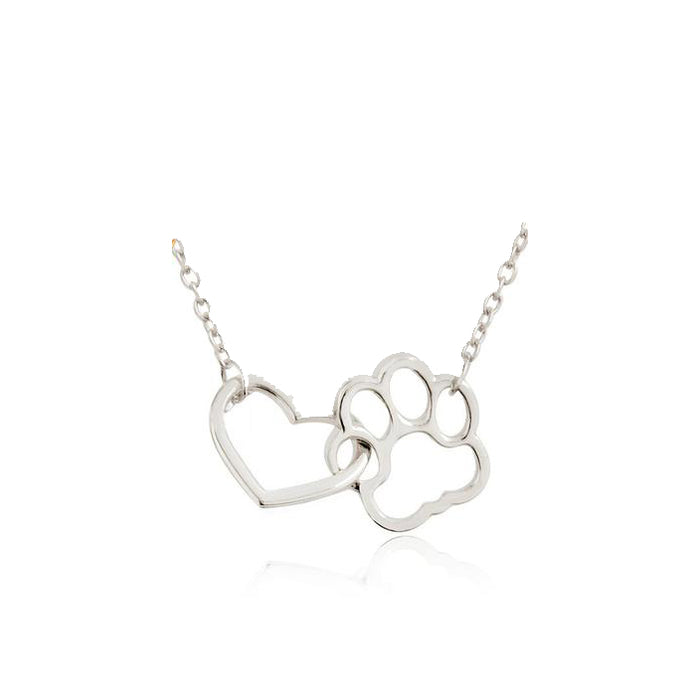 Love Paw Print Heart Bracelet - Adjustable Dog Paw Bracelet-HappyFriendy