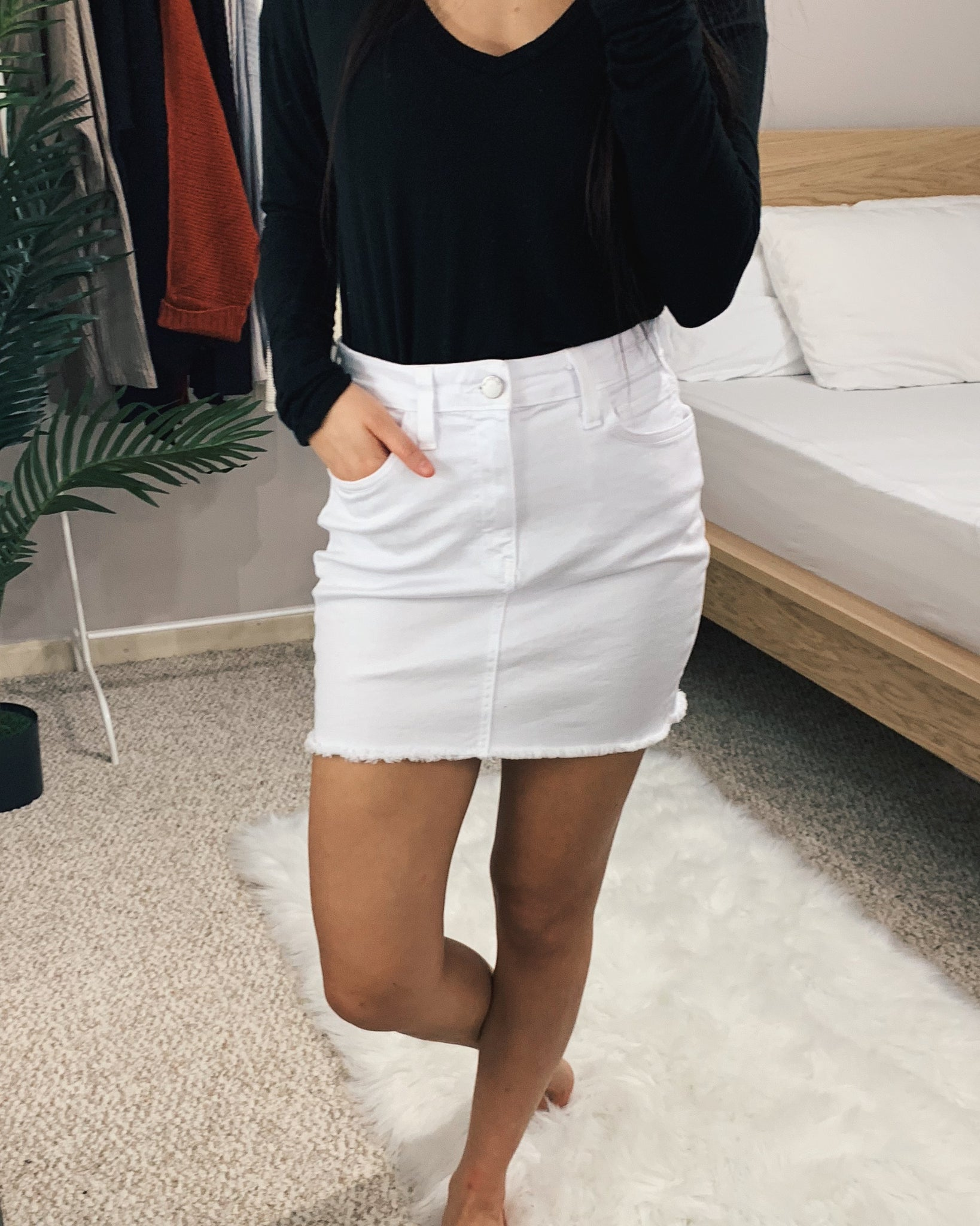 Hazel - White Denim Skirt
