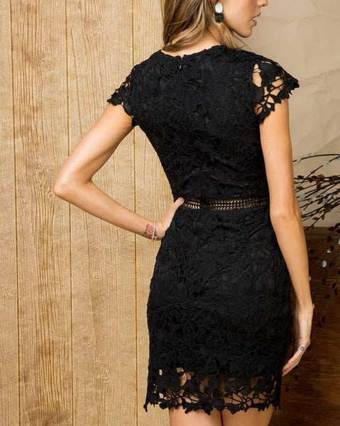 Black Crochet Lace Dress