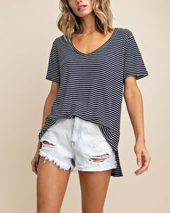 Navy + White Striped Tee