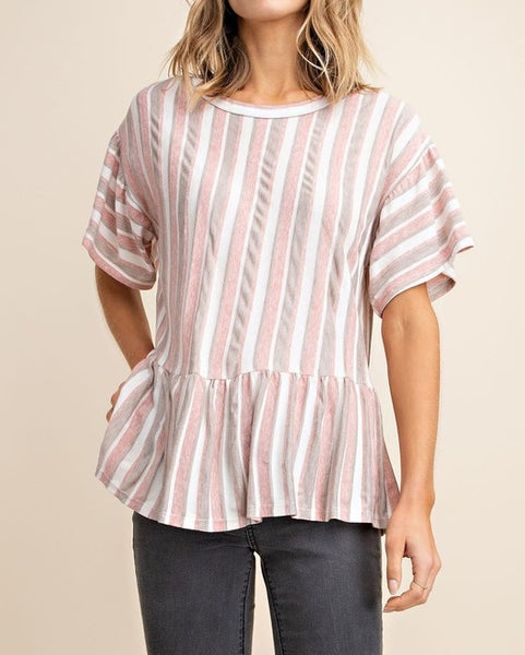 Terracotta Striped Ruffle Top