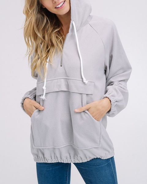 Miranda - Light Gray Quarter Zip Pullover