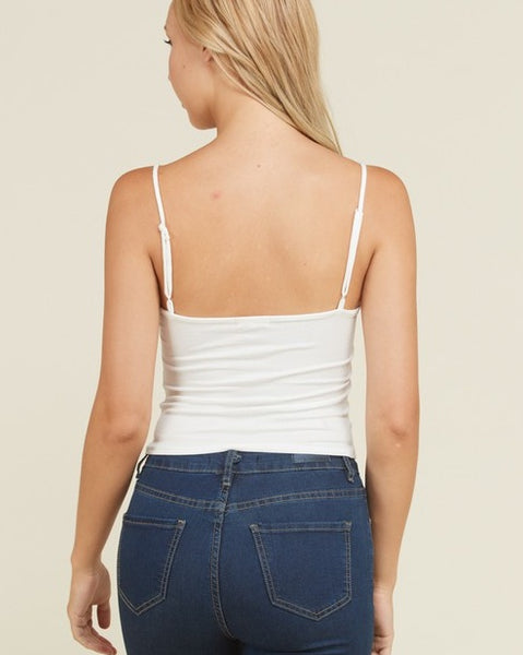 Joanne - White Ruched Tank Top