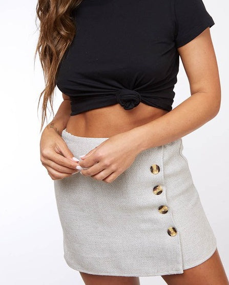 Light Taupe Button Mini Skirt