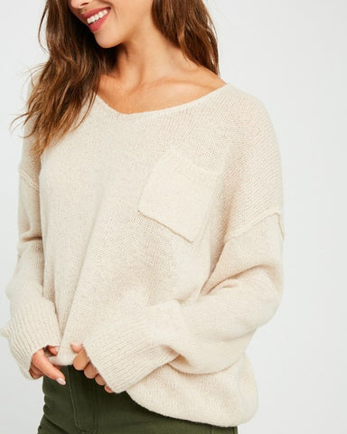 Oatmeal Oversized V-Neck Sweater