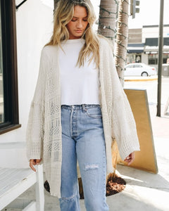 Cream Netted Cardigan