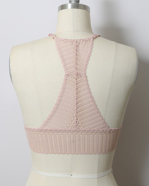 Ibiza - Blush Ribbed Lace Bralette
