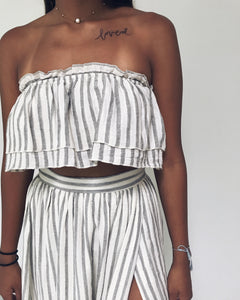 Kendall - Grey + Ivory Striped Two-Piece Set