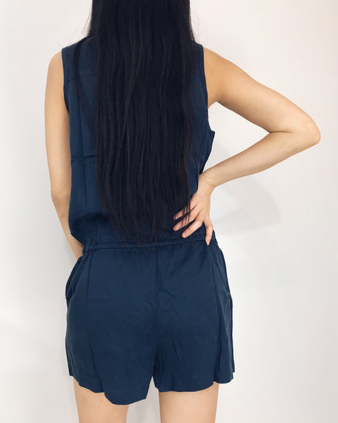 Mia - Navy Blue Button Up Romper