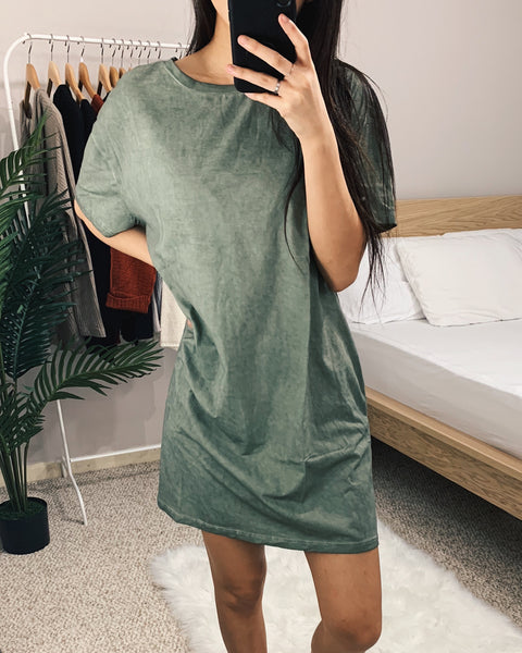 Olive Green Oil Washed T-Shirt Dress